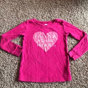 "Old Navy Long Sleeve Pink Top ""Follow Your Heart"""